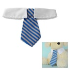 Fashionable Striped Cotton Neck Tie Collar for Pet Cat / Dog - White + Blue (M)