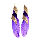 Buy Women's Fashionable Unique Feather Metal Earrings - Purple (Pair)