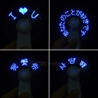 Handheld Programmable Blue LED Message Display USB Mini Fan - White
