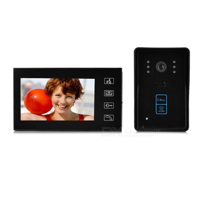 "7"" Color TFT LCD Video Door Phone Kit w/ Remote Control Lock - Black"