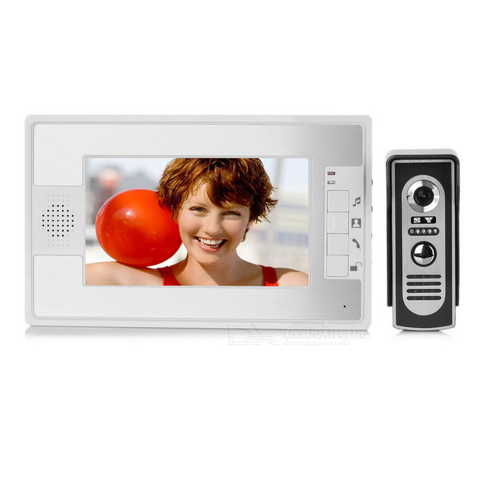 "7"" Color TFT 2-to-1 Video Door Phone Kit - White + Silver (EU Plug)"