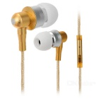 Wired Metal In-Ear Earphones w/ Mic. / Remote - White + Golden
