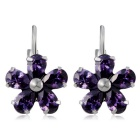 Women's Purple Plum Alloy + Zircon Ear Buckles Earrings - Silver