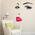 Beautiful Woman Vinyl Wall Stickers Art Mural Home Decor Decal - Black + Red