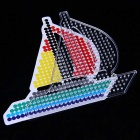 Creative DIY Mini Jigsaw Puzzle Cartoon Peas Assembling Small Sailboat Toy - Red + Multicolor