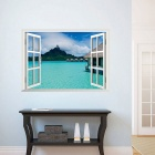 Beach Resort 3D Window View Removable Wall Art Sticker Vinyl Decal Decor Mural - Light Blue