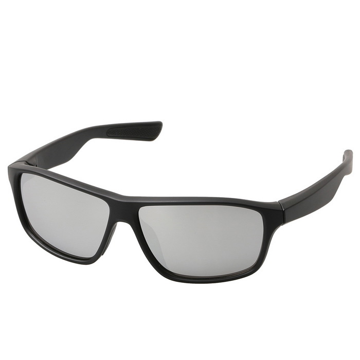 Fashionable Retro UV400 Protection PC Sports Sunglasses - Black + Silver