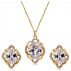 Women's Fashionable Flower Style Alloy + Crystal Pendant Necklace - Golden