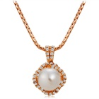 Women's Imitation Pearl Pendant Necklace - Rose Gold