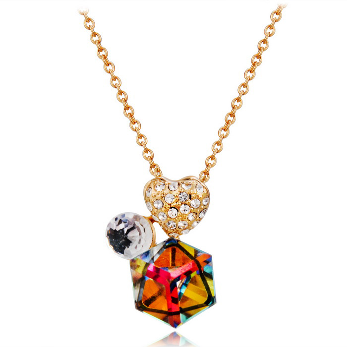 Women's Cube & Heart Style Alloy + Crystal Pendant Necklace - Golden