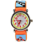Fashion Children's Cartoon Motorcycle Pattern Silicone Band Quartz Analog Wrist Watch - Light Orange