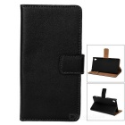 Protective Flip-Open Leather Full Body Case Cover w/ Stand & Card Slots for Sony Z4 - Black
