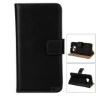 Protective Flip-Open Leather Full Body Case Cover w/ Stand & Card Slots for Samsung S6 Edge - Black