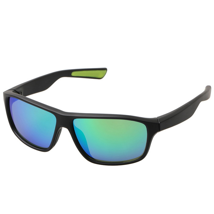 Fashionable Retro UV400 Protection PC Sports Sunglasses - Black + Green REVO