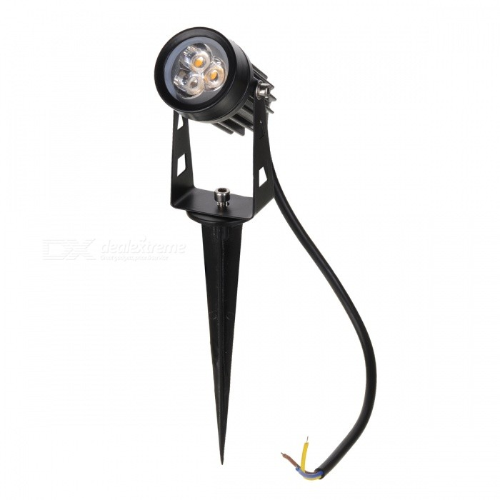 3W 3-COB LED Insert Lawn Lamp Warm White Light 270lm 3200K - BlackLandscape Lamps<br>Form  ColorBlackMaterialAluminum alloyQuantity1 DX.PCM.Model.AttributeModel.UnitWaterproof GradeIP65Power3WRated VoltageAC 85-265 DX.PCM.Model.AttributeModel.UnitEmitter TypeCOBTotal Emitters3Theoretical Lumens240~270 DX.PCM.Model.AttributeModel.UnitActual Lumens240~270 DX.PCM.Model.AttributeModel.UnitColor BINWarm WhiteColor Temperature3000~3200KDimmableNoBeam Angle30 DX.PCM.Model.AttributeModel.UnitInstallation TypeOthers,WiringOther FeaturesPower cord: 30+/-2cmPacking List1 x Lawn lamp1 x Stand<br>