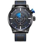 WEIDE WH5201Men's Famous Waterproof Sport Leather Band Quartz Analog Watch w/ Backlight - Blue