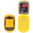 "H998 Car Style Quad-Band GSM Flip Phone w/ 2.4"" Screen, TV, Flashlight for Elderly - Yellow"