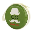 Stylish Mustache Pattern Storage Bag for Earphones / Earhook Headset - Green + White