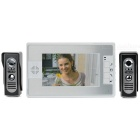 "7"" colore TFT LCD Home Security Kit videocitofono w / visione notturna IR - bianco + argento (spina EU)"
