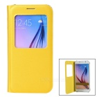 Protective Flip-Open PU Case Cover w/ View Window & Auto Sleep for Samsung Galaxy S6 - Golden Yellow