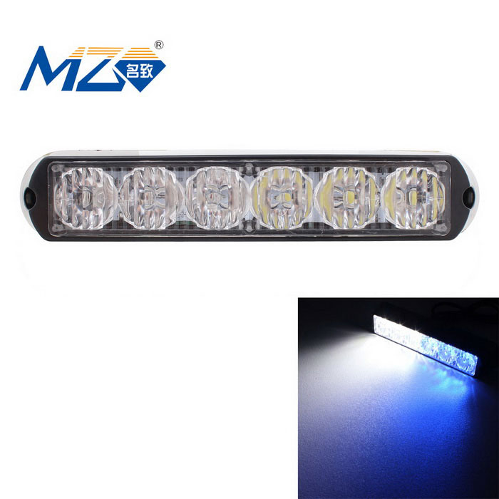 MZ 18W blanco + azul lámpara de advertencia que destella del coche 6-LED - negro (12 ~ 24V)