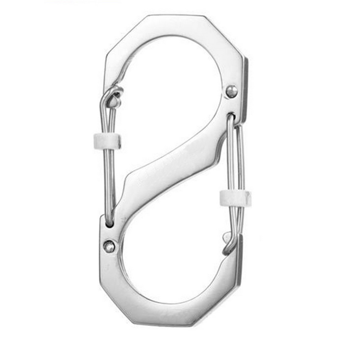 FURA Outdoor Stainless Steel S-Type Carabiner w/ Lock - Silver