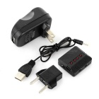 1 to 4 Balance Charger + Adapter + More for R/C Toys - Black + Silver
