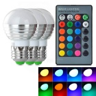 E27 3W LED Bulb Lamps RGB Light 80lm w/ Remote Control - White + Silver (AC 85~265V / 3 PCS)