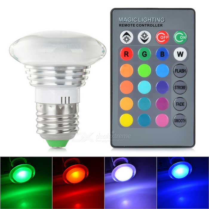E27 3W COB LED Bulb Lamp RGB Light 36lm - Silver + White (AC 85~265V)