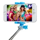 Retractable Bluetooth Selfie Stick w/ Holder for Phone, GoPro - Blue