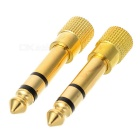 6.35mm to 3.5mm Audio Adapter for Speaker - Golden + Black (2PCS)