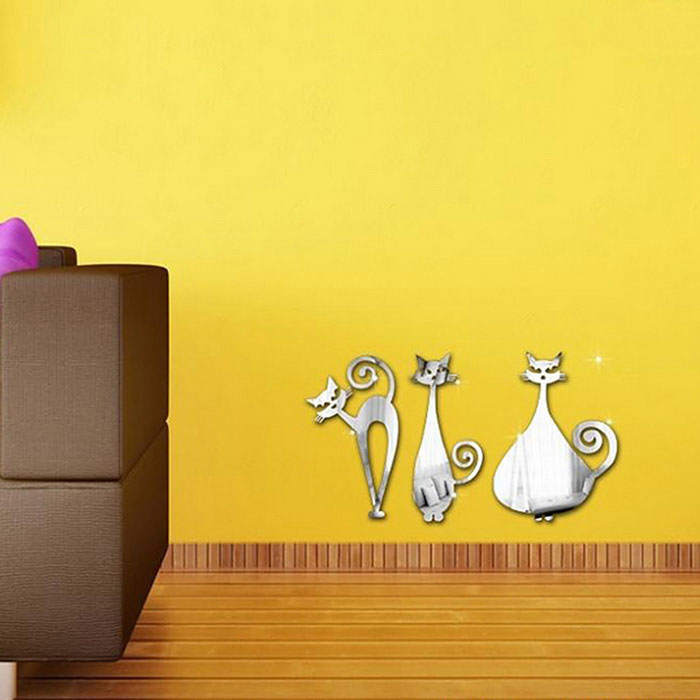 Three Cats Modern Removable Mirror Tiles Wall Stickers Decals - Silver