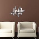 Square 3D Effect DIY Home Decal Crystal Mirror Wall Sticker - Silver