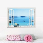 Beach Resort 3D Window View PVC Removable Wall Art Sticker Decal Decor Mural - Light Blue