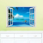 Beach Resort 3D Window View PVC Removable Wall Art Sticker Decal Decor Mural - Light Blue + White