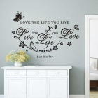 "English Proverbs Bob Marley ""Love the Life You Live"" Waterproof Removable Wall Stickers - Black"