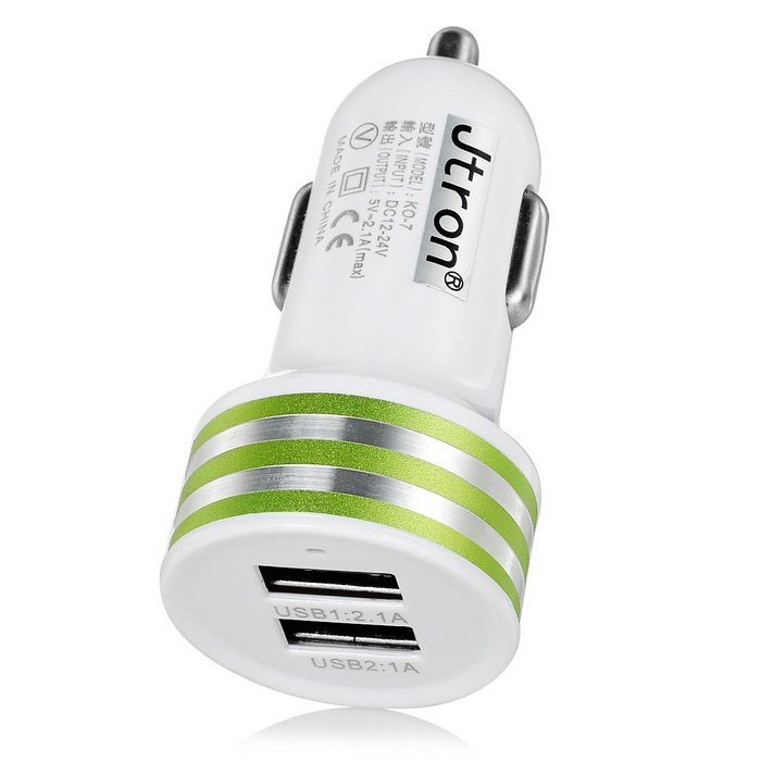 Jtron Universal 5V 2.1A 2-USB Car Charger Adapter - White + Green