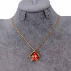 Penguin Alloy + Crystal Pendant Necklace for Women - Golden + Red