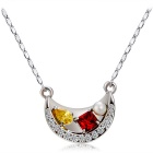 Crystal Inlaid Moon Shaped Pendant Necklace - Silver