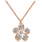 Women's Elegant Plum Blossom Design Zircon + Alloy Pendant Necklace - Rose Gold