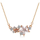 Beautiful Flower Design Alloy + Crystal Pendant Necklace for Women - Rose Gold