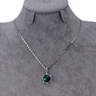 Tortoise Green Crystal Necklace - Silver