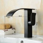 Contemporary Oil Rubbed Brass Waterfall Bathroom Sink Faucet - Black