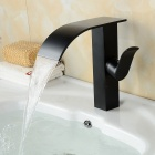 YDL- F-0659 Contemporary Oil Rubbed Brass Waterfall Bathroom Sink Faucet - Black