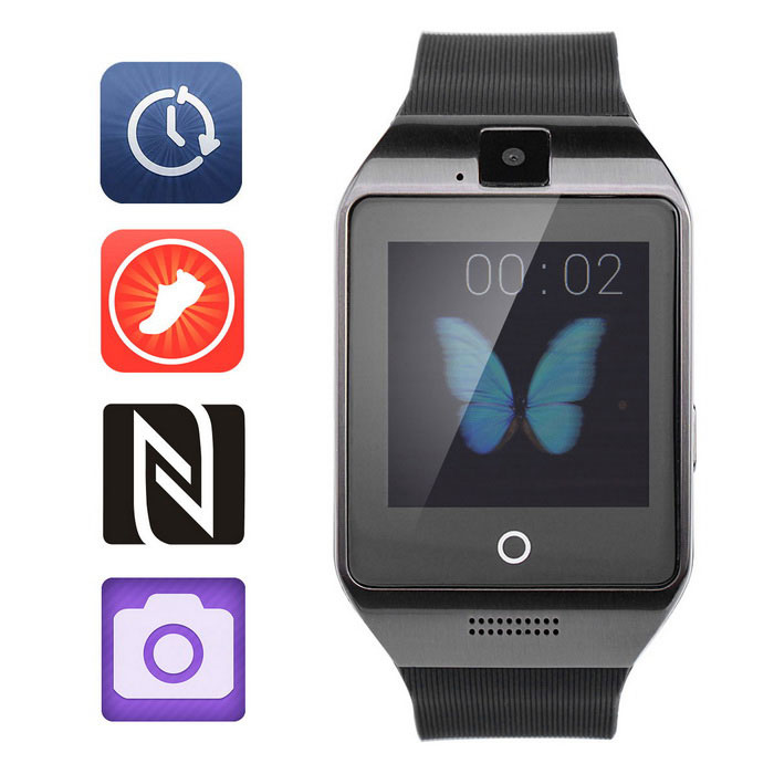 "Smart GSM Watch Phone w/ 1.54"" TFT, NFC, BT,Pedometer - Black"