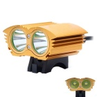 UltraFire XM-L T6 2-LED 2000lm 4-Mode White Bicycle Light Headlamp Headlight - Golden (4 x 18650)