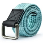 Unisex Leather + Cotton Woven Belt w/ Alloy Dual-Ring Buckle - Light Green