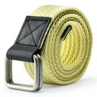 Unisex Leather + Cotton Woven Belt w/ Alloy Dual-Ring Buckle - Yellow