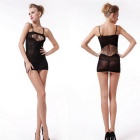 European Style Strap Hollowed One-Piece Sexy Lingerie - Black