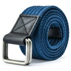 Unisex Leather + Cotton Woven Belt w/ Alloy Dual-Ring Buckle - Dark Blue